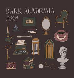 Dark academia room concept vector