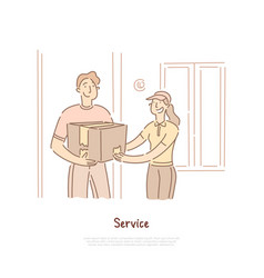 delivery shipping service courier holding parcel vector image