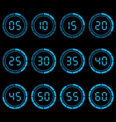 Digital countdown timer with five minutes interval vector image