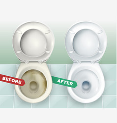 Dirty and clean toilets vector