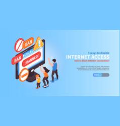 Disable internet access banner vector