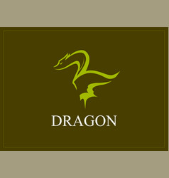 Dragon tattoo symbol in green color vector