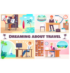 dreaming about travel color vector image