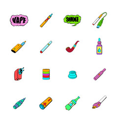 E-cigarettes icons set cartoon vector
