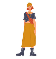 Fashionable model wearing skirt and top outfit vector