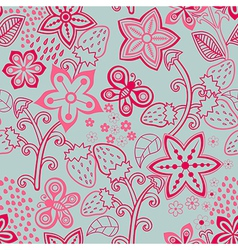 Floral Seamless Texture with a Strawberry Bright vector image