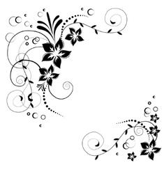 Flower corner in vector