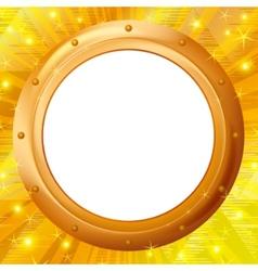 Frame porthole on gold background vector