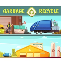 Garbage Recycling Company 2 Cartoon Banners vector image