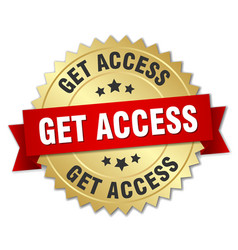 Get access 3d gold badge with red ribbon vector