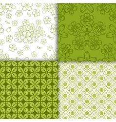 Green decorative floral wallpaper pattern set vector image