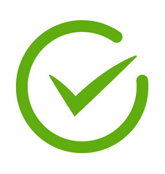 Green tick confirm or checkmark line art icons vector
