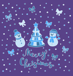 Greeting card with christmas tree and snowmen vector