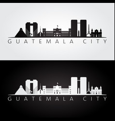 guatemala city skyline and landmarks silhouette vector image