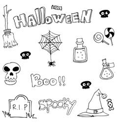 Hand draw flat Halloween doodle vector image