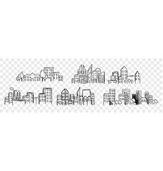 Hand drawn buildings skyscrapper set collection vector