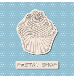 Hand drawn cupcake with berry vector image