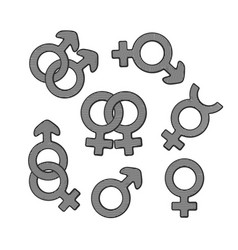 Hand drawn set gender symbols with scribble vector