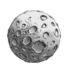 Hand drawn sketch of moon planet in black vector