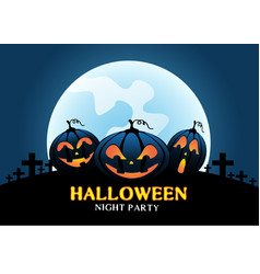happy halloween pumpkins on blue moon light vector image