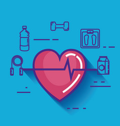 Heart cardio with healthy lifestyle icons vector