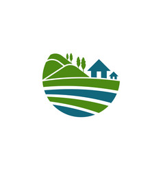 Home hill nature abstract landscaping logo vector
