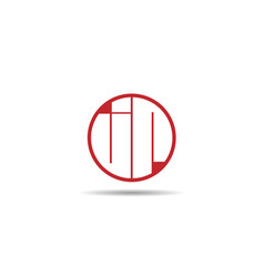 initial letter jr logo template design vector image