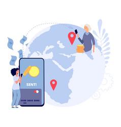 international money transfer girl sends money vector image