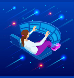 Isometric woman touching virtual interface vector