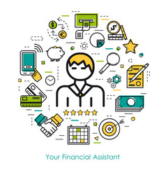 line art concept - financial assistant vector image