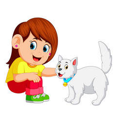little girl and her pet cat vector image