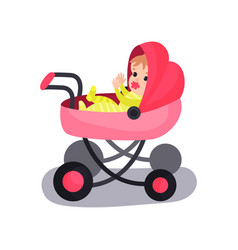 lovely baby in a pink modern pram transporting of vector image