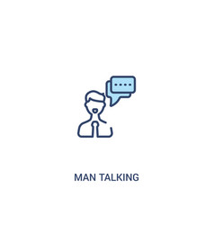 Man talking concept 2 colored icon simple line vector