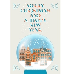 Merry christmas greeting card with snowball vector