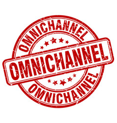 Omnichannel red grunge stamp vector