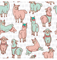 Pastel colors cartoon alpaca llamas herd seamless vector