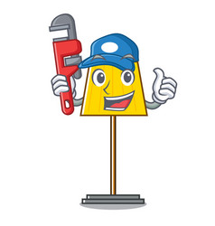 Plumber floor lamp mascot cartoon vector
