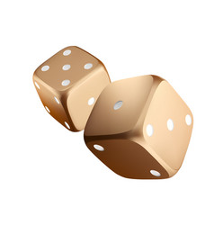 Poker dice view of golden white dice casino gold vector
