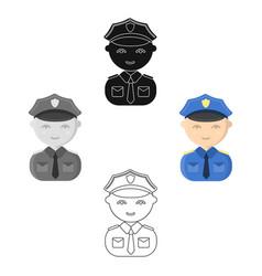policeman cartoonblack icon for web vector image
