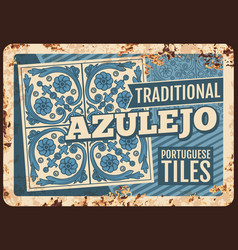 portugal travel azulejo tiles metal plate rusty vector image