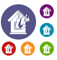Preventing fire icons set vector