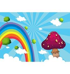 Rainbow and the giant mushroom vector