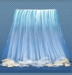 Realistic waterfall with blue clean water and vector