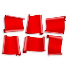 ribbons set realistic red glossy paper ribbon vector image