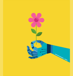Robotic hand with a flower background vector