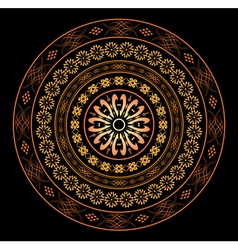 round ornament for design on black vector image