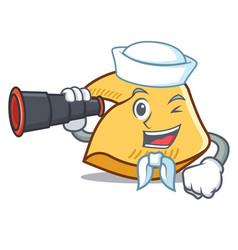 Sailor with binocular fortune cookie mascot vector