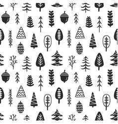 scandinavian forest trees nordic seamless pattern vector image