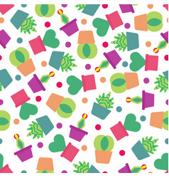 seamless pattern background with cute cactus soft vector image