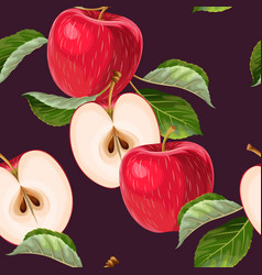 seamless pattern with red apples and leaves vector image